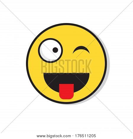 Yellow Smiling Face Wink Positive People Emotion Icon Flat Vector Illustration
