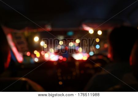 Night Road View From Inside Car Natural Light Street And Other Cars Is Motion Blurred With Bokhen Us