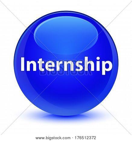 Internship Glassy Blue Round Button
