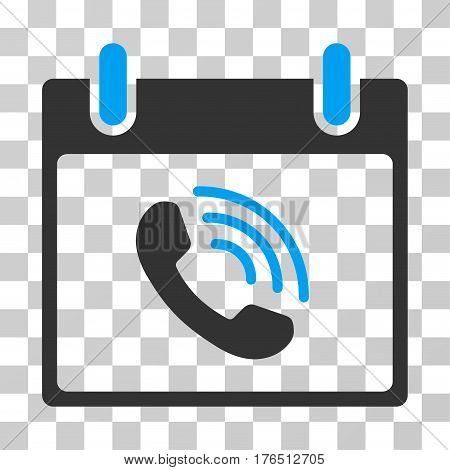 Phone Call Calendar Day icon. Vector illustration style is flat iconic bicolor symbol, blue and gray colors, transparent background. Designed for web and software interfaces.