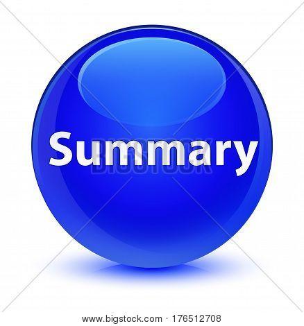 Summary Glassy Blue Round Button