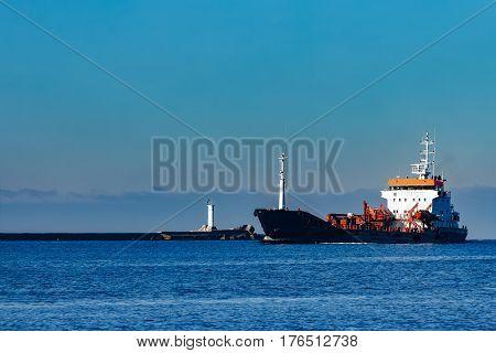 Black Cargo Oil Tanker