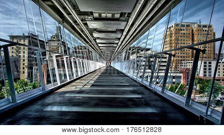 Davenport Iowa glass Sky walk over bridge