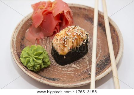 Japanese Traditional Foods Rolls And Sushi.