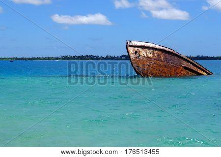 Shipwreck Off The Coast Of Pangaimotu Island Near Tongatapu Island In Tonga