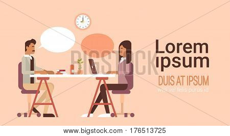 Indian Business People Group Using Laptop Office Coworking Center Modern Workplace Flat Vector Illustration