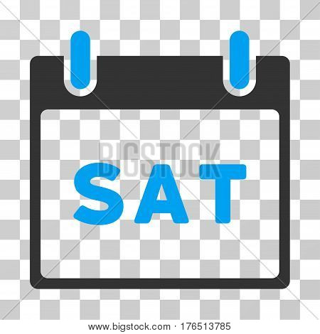 Saturday Calendar Page icon. Vector illustration style is flat iconic bicolor symbol, blue and gray colors, transparent background. Designed for web and software interfaces.
