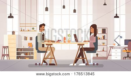 Indian Business People Group Working In Creative Office Coworking Center Modern Workplace Flat Vector Illustration