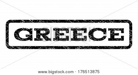 Greece watermark stamp. Text caption inside rounded rectangle with grunge design style. Rubber seal stamp with unclean texture. Vector black ink imprint on a white background.