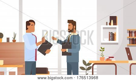 Business Man Group Meeting Discussing Office Businesspeople Working Flat Vector Illustration