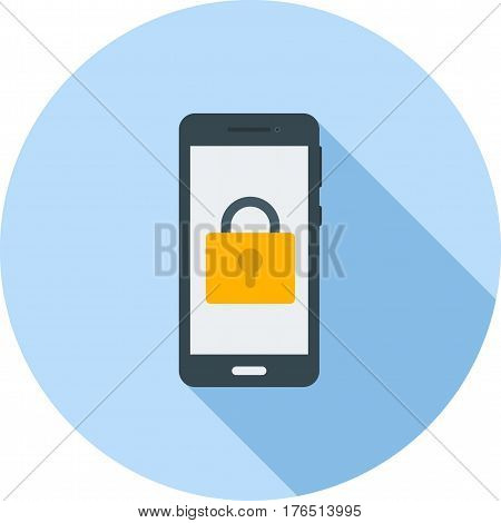 Lock, screen, phone icon vector image. Can also be used for smartphone. Suitable for mobile apps, web apps and print media.
