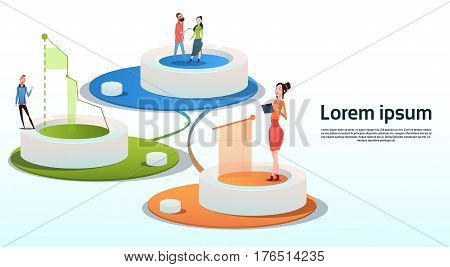 Businesspeople Group Visualization Analysis Finance Graph Financial Business Chart Copy Space Flat Vector Illustration