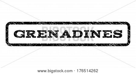 Grenadines watermark stamp. Text tag inside rounded rectangle with grunge design style. Rubber seal stamp with dust texture. Vector black ink imprint on a white background.