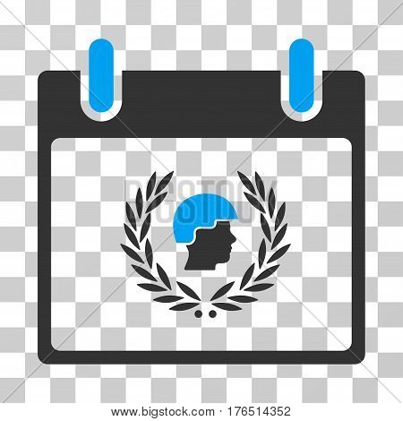 Soldier Laurel Wreath Calendar Day icon. Vector illustration style is flat iconic bicolor symbol, blue and gray colors, transparent background. Designed for web and software interfaces.
