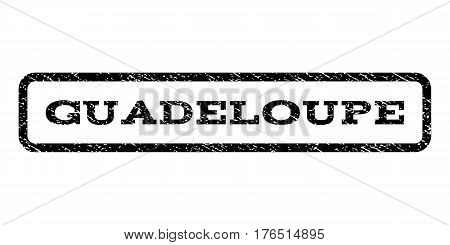 Guadeloupe watermark stamp. Text tag inside rounded rectangle frame with grunge design style. Rubber seal stamp with scratched texture. Vector black ink imprint on a white background.