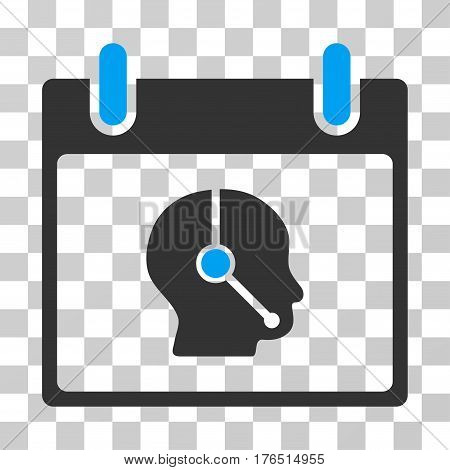 Telemarketing Operator Calendar Day icon. Vector illustration style is flat iconic bicolor symbol, blue and gray colors, transparent background. Designed for web and software interfaces.