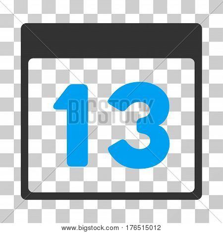 Thirteenth Calendar Page icon. Vector illustration style is flat iconic bicolor symbol, blue and gray colors, transparent background. Designed for web and software interfaces.