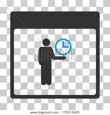 Time Manager Calendar Page icon. Vector illustration style is flat iconic bicolor symbol, blue and gray colors, transparent background. Designed for web and software interfaces.