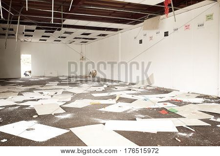 Abandoned shop with the ceiling has fallen .