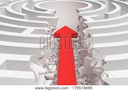 3d rendering of a maze with a red arrow borrowing to the center in closeup view. Mazes and labyrinths. Problems and solutions. Unexpected approach and risk.