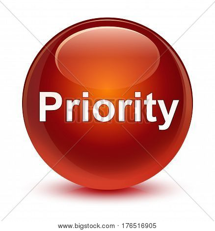 Priority Glassy Brown Round Button