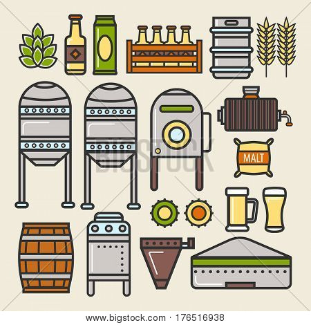 Beer brewing factory process and brewery production line details and elements of brew factory. Details of fermentation vessels or barrels, filtration stations and beer bottles. Vector isolated icons set