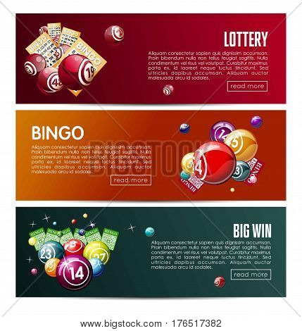 Bingo lotto lottery web banners templates set. Vector design with online interface buttons. Winner balls and lucky numbers, game cards or gambling tickets