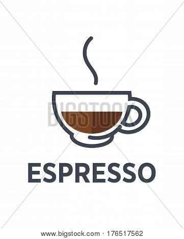 Coffee espresso logo for cafe or cafeteria icon template. Vector strong hot drink with steam in glass cup for coffeeshop, coffeehouse or fast food takeaway menu design element
