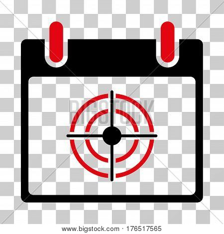Bullseye Calendar Day icon. Vector illustration style is flat iconic bicolor symbol, intensive red and black colors, transparent background. Designed for web and software interfaces.