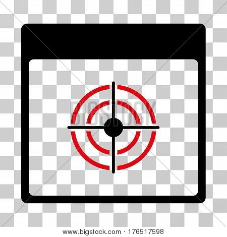 Bullseye Calendar Page icon. Vector illustration style is flat iconic bicolor symbol, intensive red and black colors, transparent background. Designed for web and software interfaces.