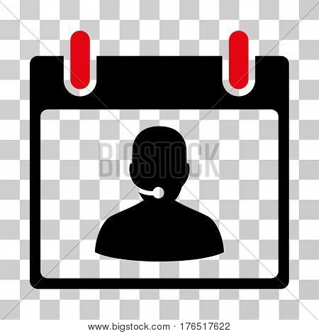 Call Center Manager Calendar Day icon. Vector illustration style is flat iconic bicolor symbol, intensive red and black colors, transparent background. Designed for web and software interfaces.