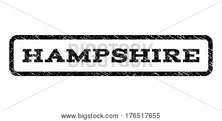 Hampshire watermark stamp. Text tag inside rounded rectangle with grunge design style. Rubber seal stamp with unclean texture. Vector black ink imprint on a white background.