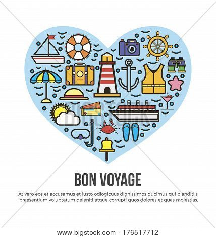 Bon Voyage heart poster of sea cruise travel and summer vacation holiday trip elements. Vector yacht helm or sailboat anchor, camera and sun on palm beach, scuba diving mask and tropical cocktail