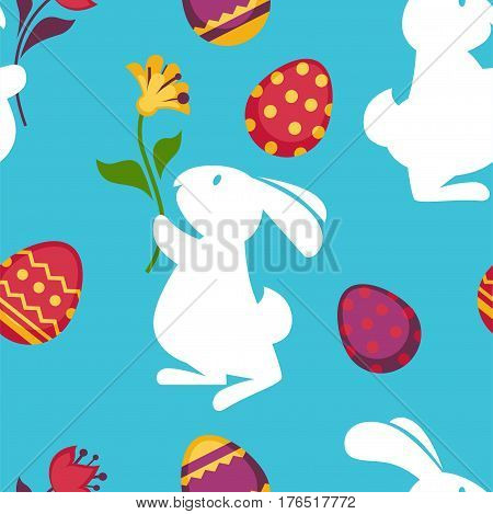 Easter seamless pattern of paschal eggs and bunny rabbit with spring flower. Vector blue background for holiday greeting card