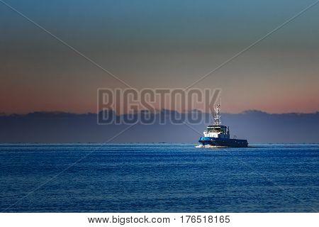 Blue Small Tug Ship