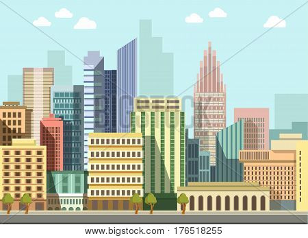 City landscape day view. Modern urban skyscrapers houses or living and office buildings street district architecture. Vector flat detailed skyline or panorama illustration
