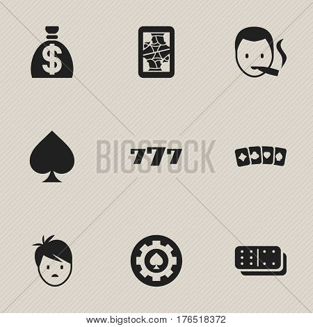 Set Of 9 Editable Game Icons. Includes Symbols Such As Boy, Moneybag, Bones Game And More. Can Be Used For Web, Mobile, UI And Infographic Design.