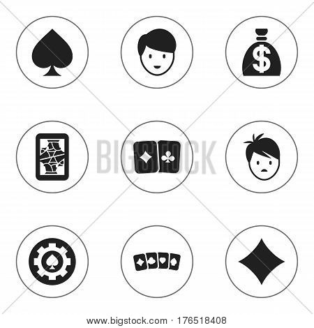 Set Of 9 Editable Excitement Icons. Includes Symbols Such As Black Heart, Game Card, Blackjack And More. Can Be Used For Web, Mobile, UI And Infographic Design.