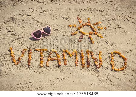 Sunglasses, Inscription Vitamin D And Shape Of Sun On Sand At Beach, Summer Time And Healthy Lifesty