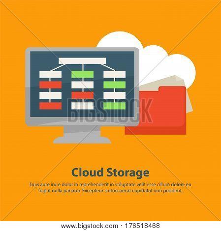 Cloud storage poster of online internet files storage. Vector flat design of computer monitor and file explorer or folder