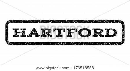 Hartford watermark stamp. Text tag inside rounded rectangle frame with grunge design style. Rubber seal stamp with scratched texture. Vector black ink imprint on a white background.