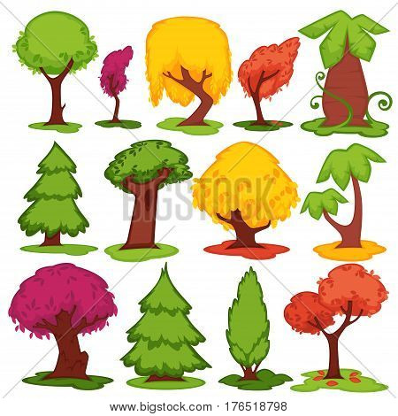 Trees vector flat icons set. Set of cartoon pine fir, oak or elm and baobab, maple and cypress. Coniferous, deciduous leaf, tropical of fruit tree forest foliage elements in summer and autumn fall