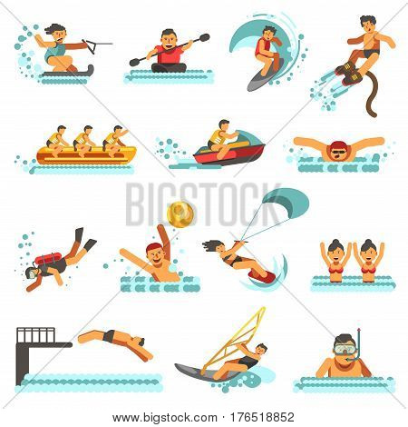 Water sport activities vector flat icons. Set of wave kite surfing or flyboard windsurfing, scuba diving or snorkeling, polo or synchronized swimming, canoeing or team rowing and water-skis