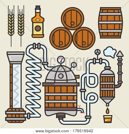Whiskey production line of whisky making technology vector elements. Details of fermentation copper pot vessels or aging oak barrels, filtration or distillation station and product bottles
