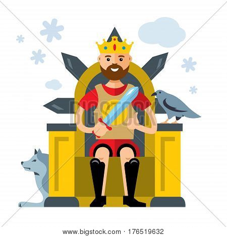 Game with a raven. Prince in a chair playing with a bird. Isolated on a white background