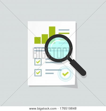 Sales growth report, analytics, investigation, boosted sales graph analytics data, research icon vector, analysis on paper sheet document via magnifier, statistics result with chart analyzing, audit