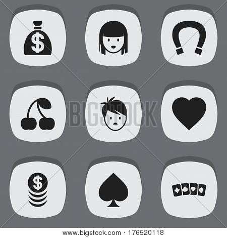 Set Of 9 Editable Business Icons. Includes Symbols Such As Moneybag, Female Face, Stacked Money And More. Can Be Used For Web, Mobile, UI And Infographic Design.