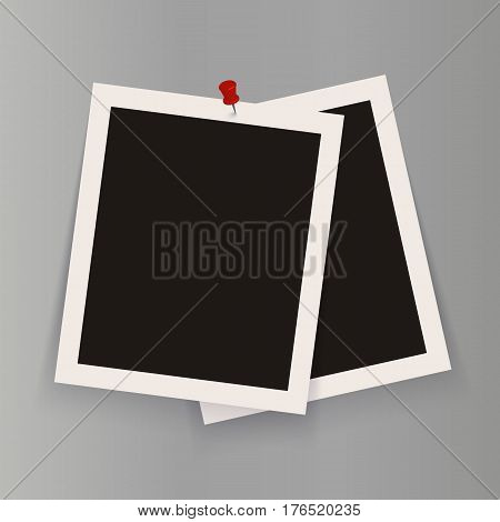 Set of isolated realistic empty vector photo frames mockup with red clip. Template photo design.