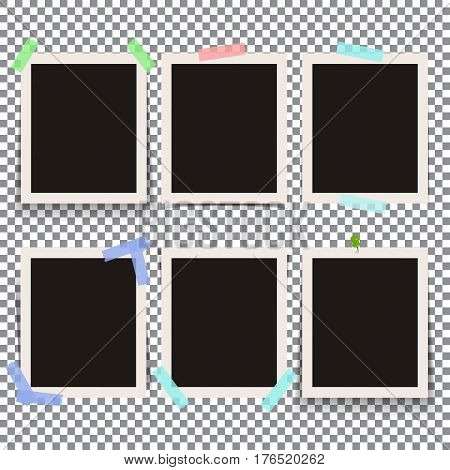 Set of isolated realistic empty vector photo frames mockup. Template photo design.