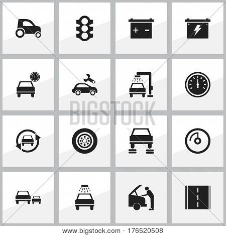 Set Of 16 Editable Vehicle Icons. Includes Symbols Such As Accumulator, Car Fixing, Auto Repair And More. Can Be Used For Web, Mobile, UI And Infographic Design.